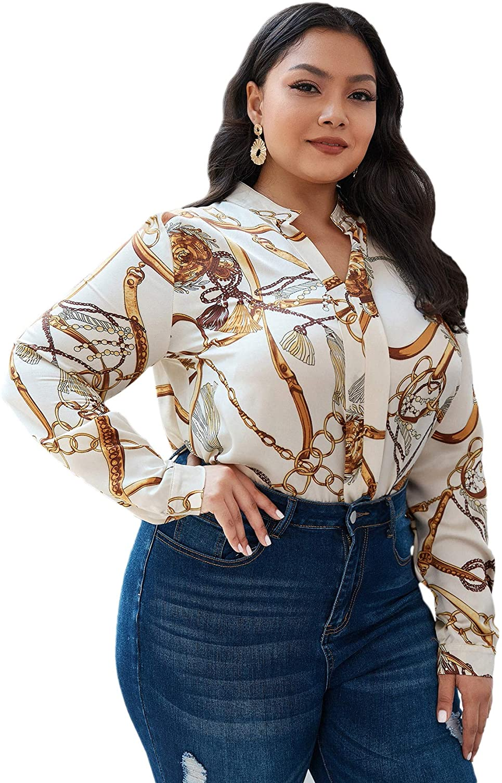 Floerns Women's Plus Size Notch Neck Long Sleeve Chain Print Blouse Shirts