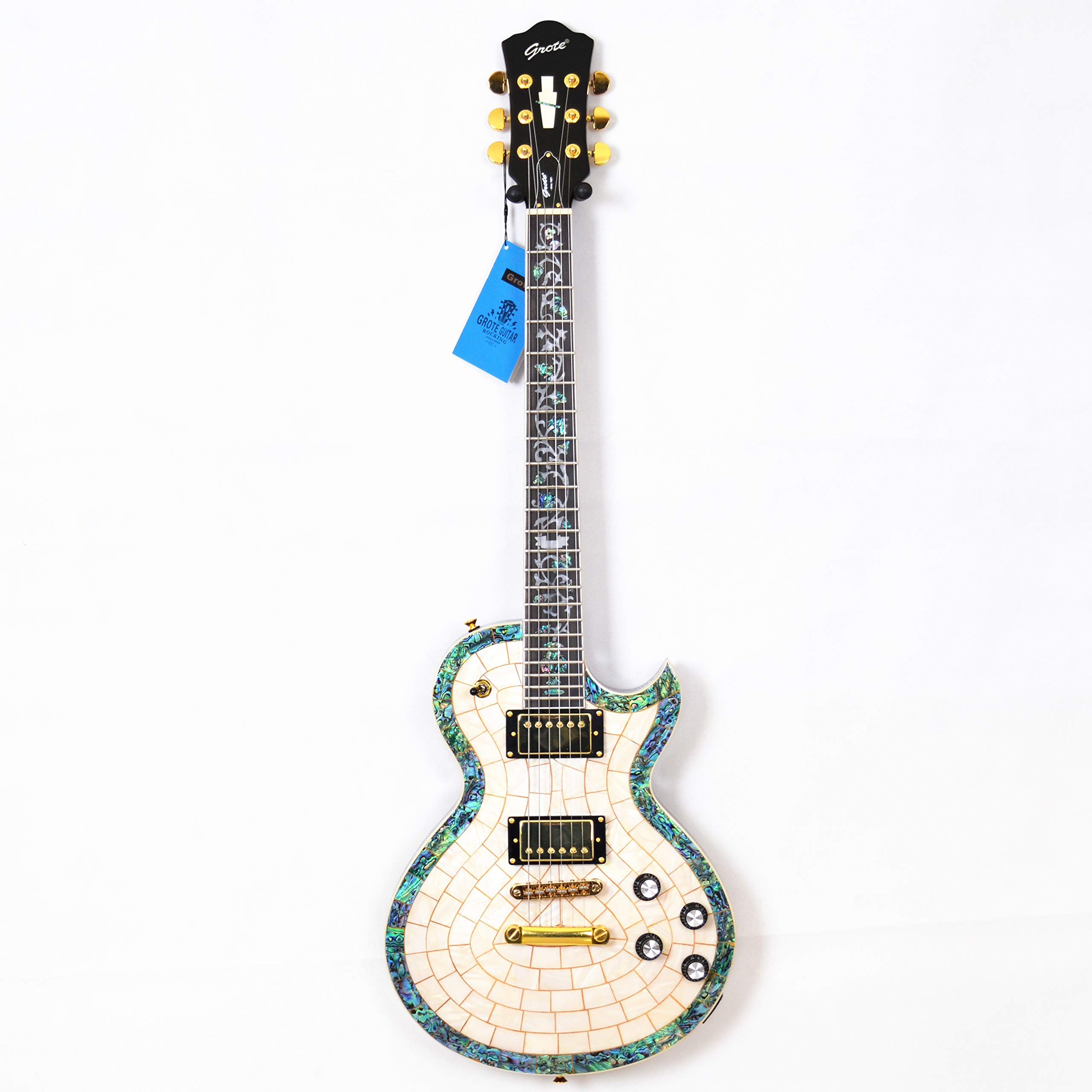 Cheap 2019 New Grote Electric Guitar Abalone Veneer Flower Inlay White Gold Hardware Black Friday & Cyber Monday 2019