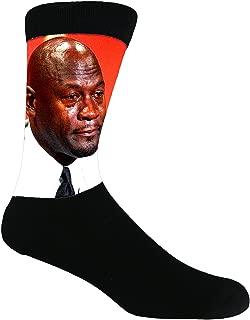 Dank Meme Socks Crying Jordan Black Dye Sublimated Dress Crew Socks