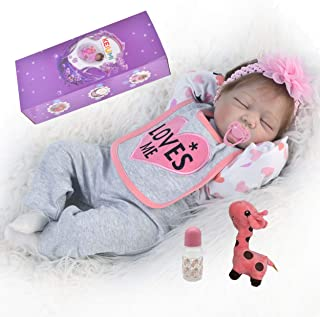 KEIUMI Reborn Baby Dolls Sleeping Girls Lifelike Soft Silicone Babys 22