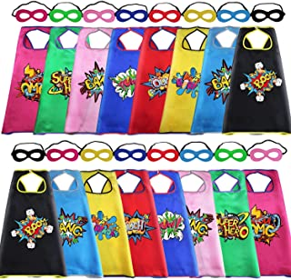 Superhero Capes and Masks for Kids Bulk with Super Hero Stickers for Boys Girls DIY Dress Up Party, 16 Pack