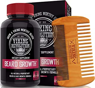Viking Revolution Men's Beard Growth Vitamin Supplement Tablets - Potent Pills for Maximum Facial Hair Growth for Men - Includes Beard Comb