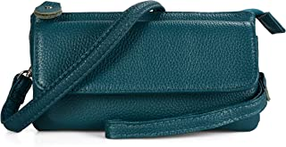 Befen Leather Wristlet Clutch Smartphone Crossbody Wallet with Card Slots/Shoulder Strap/Wrist Strap (Teal Small)
