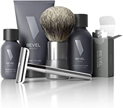 Shaving Kit for Men by Bevel - Starter Shave Kit, Includes Safety Razor, Shaving Brush, Shave Creams, Oil, Balm and 20 Bla...
