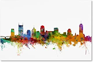 Nashville Tennessee Skyline by Michael Tompsett, 30x47-Inch Canvas Wall Art