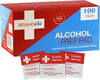 Alcohol Prep Pads (100-Pack) | Thick 2-Ply Antiseptic/Sanitizing Isopropyl Medical Wipes | Individually Wrapped Alcohol Cleansing Swabs , Diabetic Supplies, Hospitals