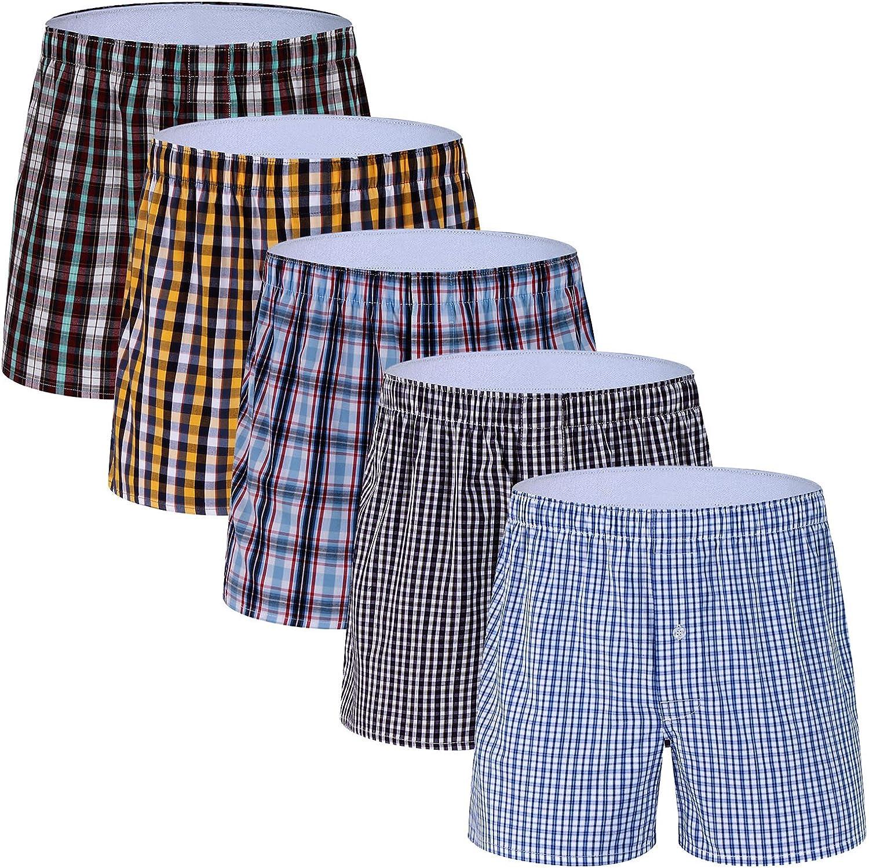 M MOACC Men's Woven Plaid Boxers Underwear 100% Cotton Premium Quality Shorts