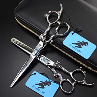 Barber Hairdressing Scissors, Hair Styling-Grooming Scissors Shears, Japanese J2 Steel Razor,A,Flat Cut 6 inch