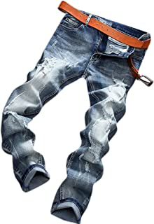 Men's Modern Relaxed Straight Fit Distressed Ripped Holes Tapered Leg Jeans