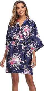 Women Floral Kimono Robe Satin Bridal Dressing Gown Bride Bridesmaid Robes Sleepwear