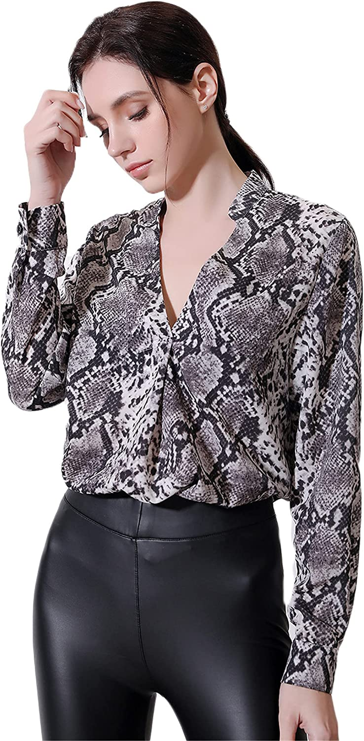 Andongnywell Women's Casual Snake Print V Butto Max Mail order 84% OFF Sleeve Long Neck