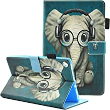 Fvimi All-New HD 8 Case, Slim Fit Folio Stand Leather Cute Design Smart Cover with Auto Wake/Sleep Function for HD 8 8th Generation 2018 / 7th Generation 2017 / 6th Generation 2016, Glasses Elephant