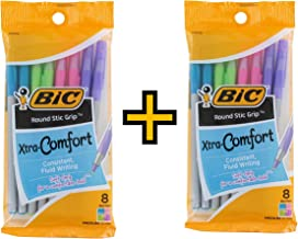 BIC Round Stic Grip Xtra Comfort Fashion Ballpoint Pens, Pack of 16 - Pastel Blue, Green, Pink, Purple, 1.0mm
