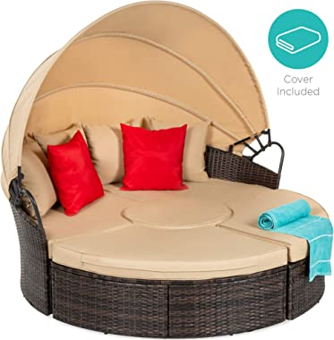 Best Choice Products 5-Piece Modular Patio Wicker Daybed Sectional w/Adjustable Seats, Retractable Canopy, Cover