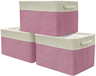 Sorbus Storage Large Basket Set [3-Pack] - Big Rectangular Fabric Collapsible Organizer Bin with Carry Handles for Linens,...