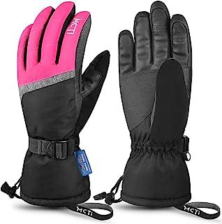 Ski Gloves,Winter Waterproof Snowboard Snow 3M Thinsulate Warm Touchscreen Cold Weather Women Gloves Wrist Leashes