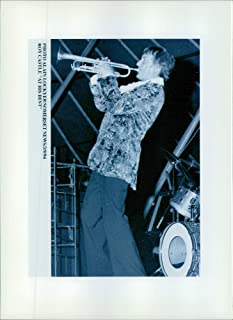 Vintage photo of Roy Castle, former English entertainer plays trumpet