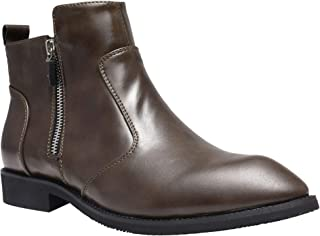 Mens Formal Dress Casual Chelsea Ankle Boot Twin Elastic Side Panels and Zipper Slip On