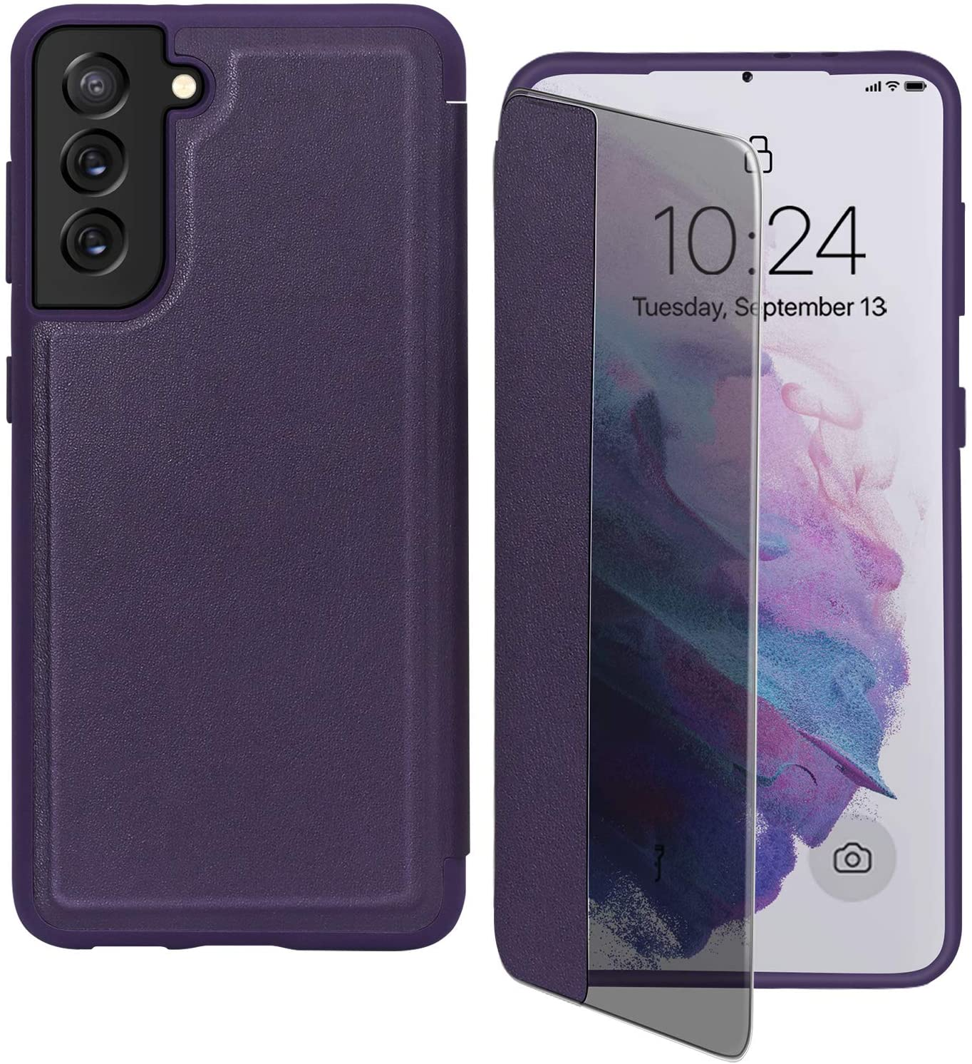"""FYY Phone Case for Samsung Galaxy S21 5G 6.2"""", Magnetic Slim Flip Case Drop Protection Shockproof Protective Cover with Window View Function for Samsung Galaxy S21 6.2 inch Purple"""