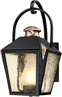 Westinghouse Lighting 6312300 Valley Forge One-Light Outdoor Wall Lantern, Matte Black Finish with Copper Accents and Frosted Chimney in Clear Seeded Glass,