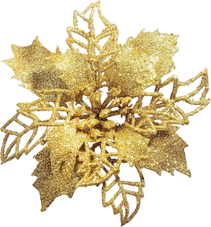 PARANTA 16 Max 79% OFF Pcs Glitter Poinsettia Inexpensive Flowers Christma for Christmas