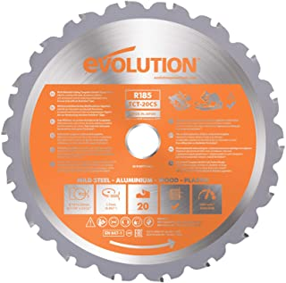 Evolution Power Tools R185TCT-20CS (Rage) Multi-Material TCT Blade Cuts Wood, Metal and Plastic, 185 mm