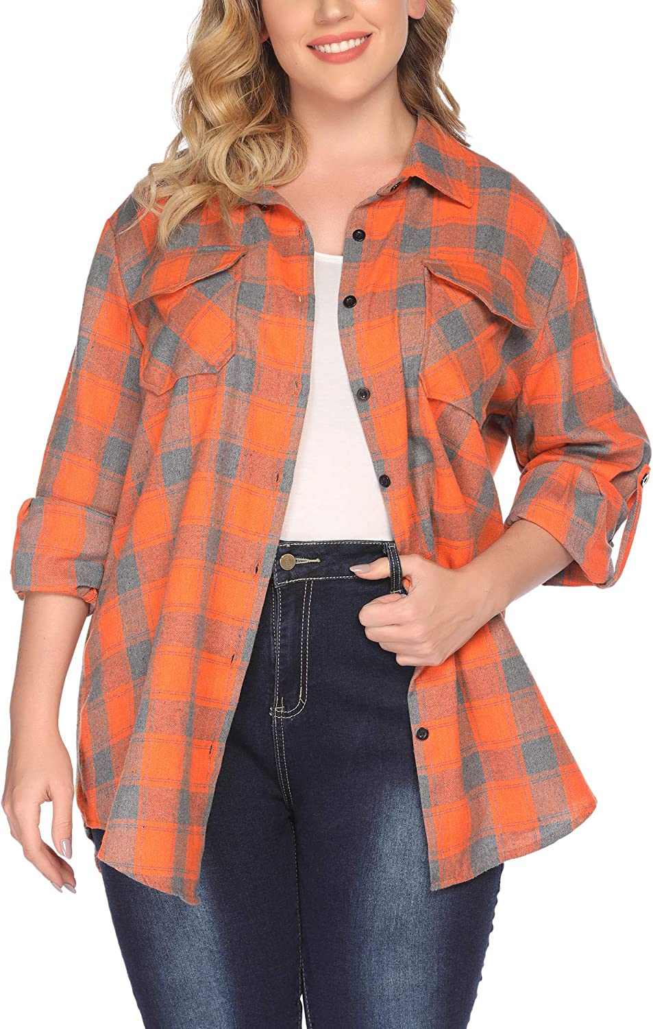 IN'VOLAND Womens Plus Size Flannel Plaid Shirt Roll Up Long Sleeve Mid-Long Button Down Shirts Casual Boyfriend Tops(16W-28W)