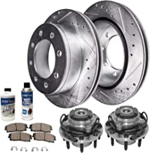 Detroit Axle - Front Wheel Bearing Hub Assembly and Drilled Slotted Brake Rotor w/Ceramic Pad Kit for 00-02 Ford Excursion - [00-04 F-250/350 Super Duty] - 4WD Coarse Thread Single Rear Wheel SRW Only