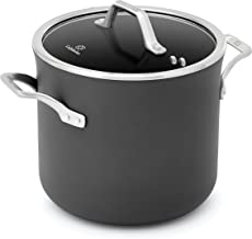 Calphalon Signature 8 Quart Covered Stock Pot|Hard Anodized Nonstick Pot with Lid, Black