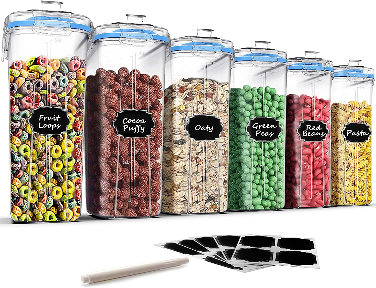 Airtight Food Storage Containers Cereal Container, Blingco Dry Food Storage Containers Kitchen Pantry Organization Storage Set of 6 [2.5L / 85.4oz] for Flour, Sugar, Snack with Blue Locking Lids