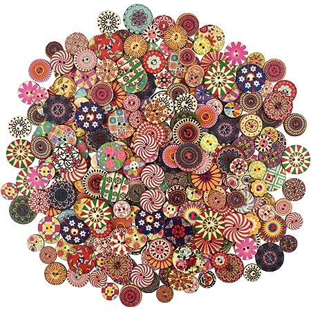 300 Pzs Colori Dipinte Bottoni Di Legno Rotonda Fai Da Te Per Cucito E Lavorazione Bottoni in legno rotondi misti Bottoni in resina retrò colorati Bottoni per arte per maglieria Cucito 15 20 25mm