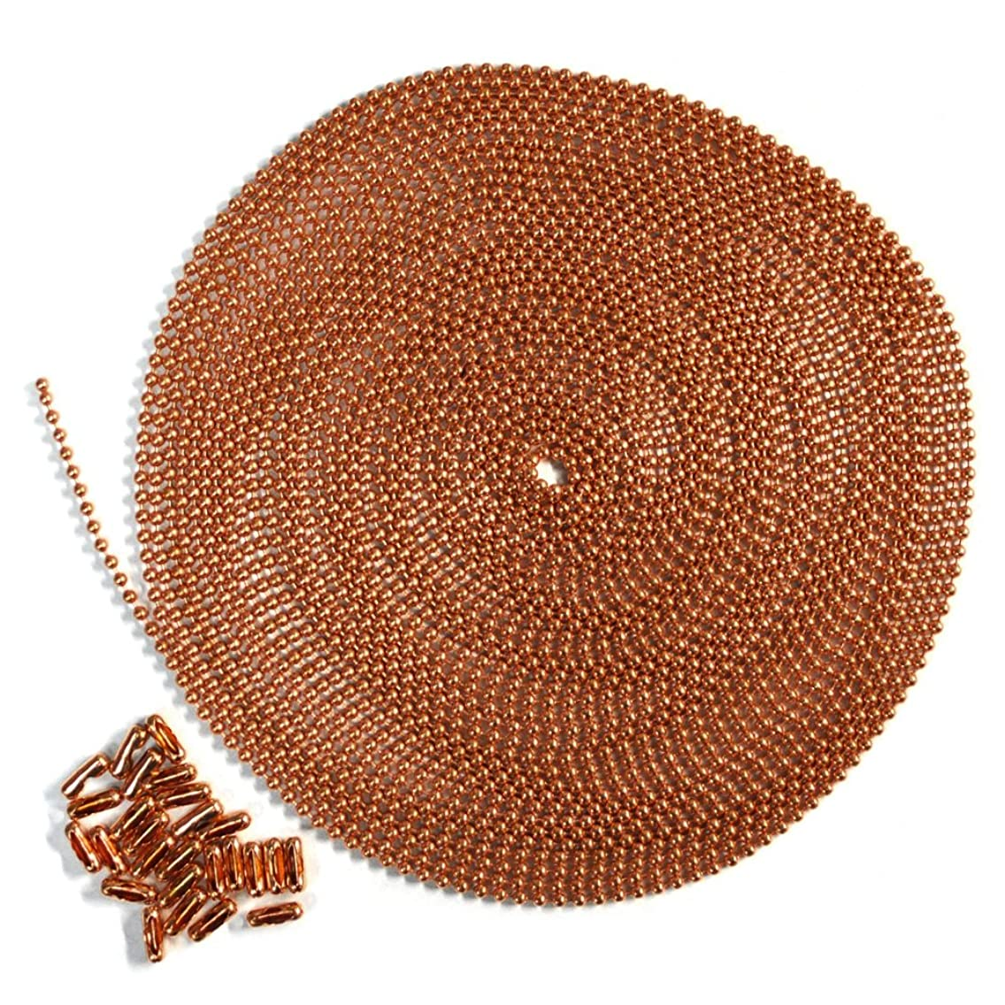 25 Foot Length Ball Chain, Number 6 Size, Copper, 25 Matching Connectors