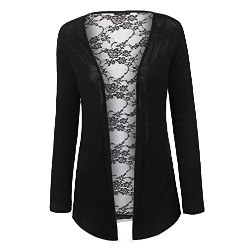 e17ab18d46b60 OD lover Women s Lace Back Long Sleeve Lightweight Sweater Cardigan
