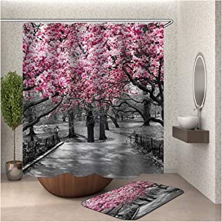 Gnzoe Polyester Hotel Quality Shower Curtain and 16''x24'' Rug Set (Pack of 2) Colorful Cherry Blossoms 66x72 in