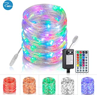 Outdoor-String-Lights, Rope-Lights Led String Lights 33 Ft 100 LEDs Rope Lights with Remote, Connectable Multicolor Lights Color Changing Lights for Outdoor Patio Porch Lawn(BasicSet)