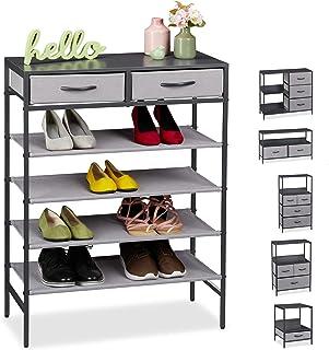 Relaxdays Commode Divers Designs, 2 tiroirs et Supports, entrée, Salon et Chambre à Coucher MDF, Tissu, Acier, GR, Gris, 1...