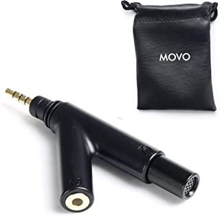 Movo MA1000 V-Shape TRRS Omni-Directional Microphone with Headphone Monitoring Jack for iPhone, iPad, Android Smartphones and Tablets