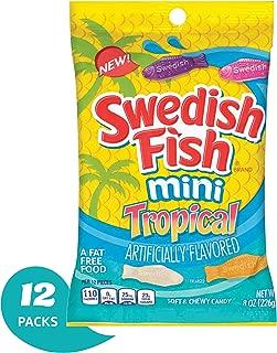 Swedish Fish Mini Tropical Fat Free Candy - 8 Oz Bag (Pack Of 12)