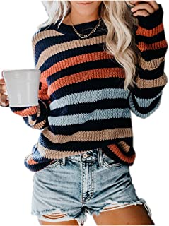 MILLCHIC Womens Oversized Pullover Sweater Colorblock Rainbow Striped Casual Long Sleeve Knit Jumper Tops
