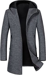 Sponsored Ad - Guandoo Men's Hooded Wool Coat Classic Mid Long Stylish Trench Coat Winter Slim Fit Wool Jacket