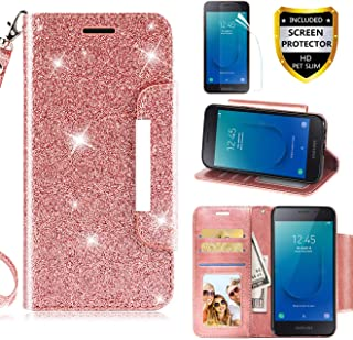 for Samsung Galaxy J2 / Core / J2 Dash /J2 Pure /J2 Shine Case Phone Wallet Purse PU Leather Magnetic Card Holder Slot Wrist Strap Bling Glitter Spark Protective for Women Girls, Rose Gold