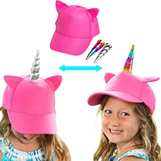 Unicorn Hats for Girls - Pink Toddler Girl Hat, Customizable Kids Baseball Caps with Silver and Rainbow Unicorn Horns, Adjustable Kid Size with UV Sun Protection