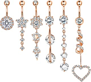 9-10 Pcs Dangle Belly Button Rings for Women 316L Surgical Steel Curved Navel Barbell Body Jewelry Piercing