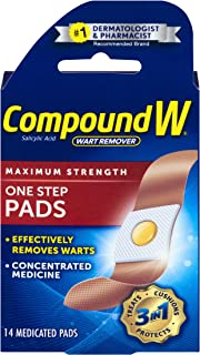 Compound W One Step Pads | Salicylic Acid Wart Remover | 14 Pads