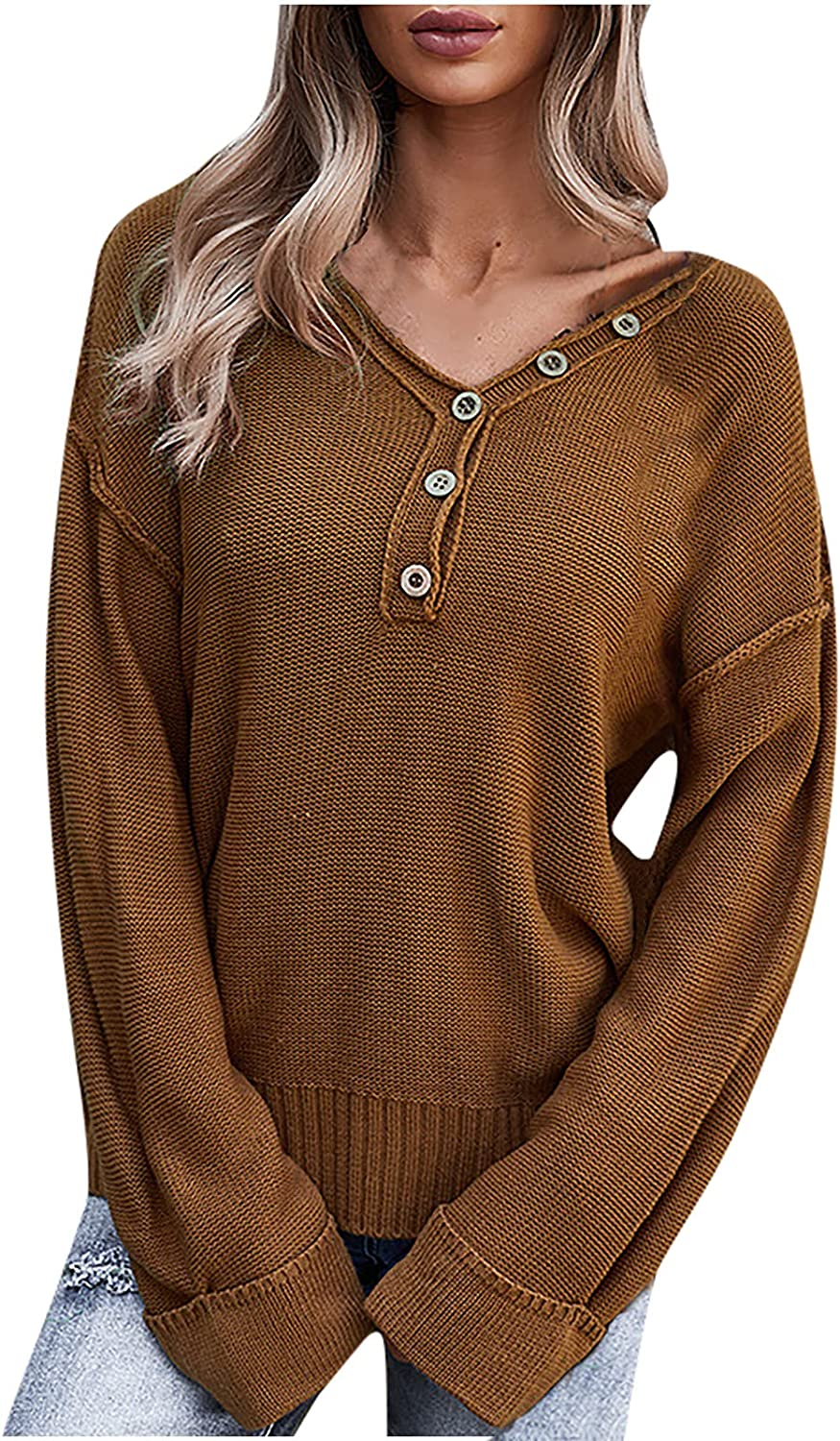 Womens Solid Button Up Long Sleeve Tee Shirt Casual Color Block Pullover Tops Fashion Sweatshirt Tunic Shirts