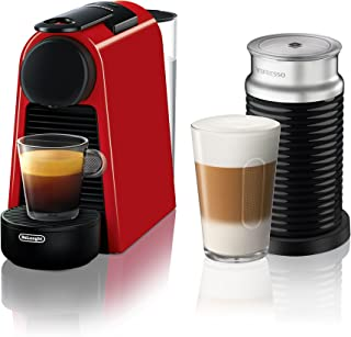 Nespresso by De'Longhi EN85RAE Essenza Mini Original Espresso Machine Bundle with Aeroccino Milk Frother by De'Longhi, Red