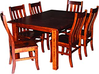 Cherry Wood Dining Room Table Set for 6 - 8, Expandable Solid Diningroom Furniture,Beautiful Amish Craftsmanship for Generations, White Glove Delivery, 2 Leaves, 42