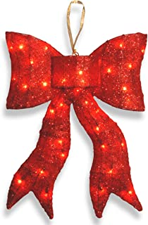 National Tree 24 Inch Red Wavy Sisal Bow with 35 Clear Outdoor Lights (MZBO-24CL-1)