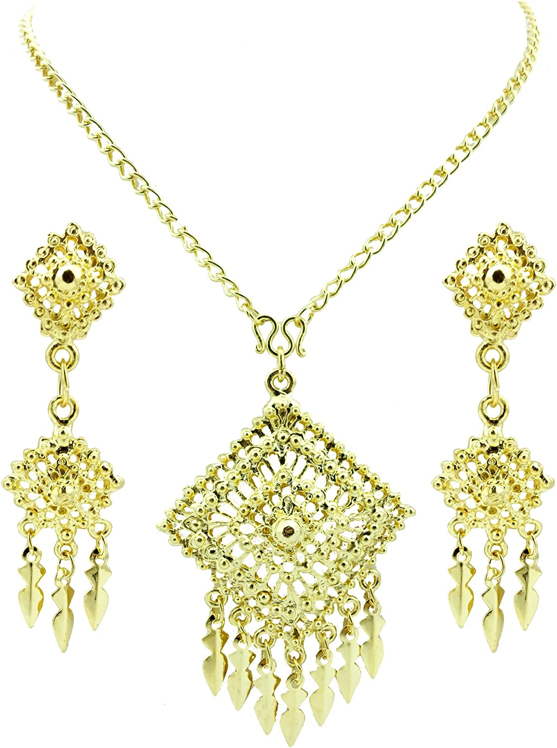 Siwalai Thai Traditional Gold Plated Necklace Earrings Bracelet Jewelry Set 20 Inches