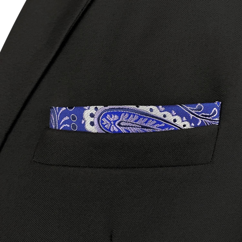 S&W SHLAX&WING Pocket Squares for Men Lavender Purple Silk Blue Paisley